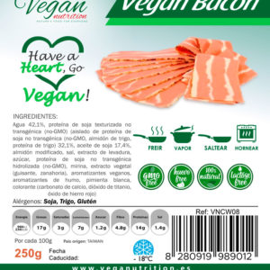 Bacon vegano con un toque ahumado, delicioso sabor y textura similar al bacon real. Vegan Nutrition