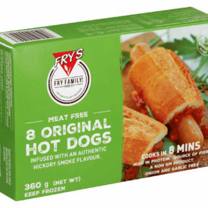 These hot dogs are made from proteins which come from grains and legumes and are infused with a smoky hickory flavour. It is high in protein . Original Hot Dogs