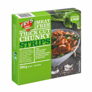Thick-cut tender strips made with a blend of vegetable proteins which come from grains and legumes. Thick Cut Chunky Strips