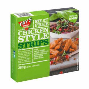 Suculentas tiras hechas de proteínas que provienen de granos y legumbres, ligeramente sazonadas con una mezcla de hierbas y especias .Tiras Estilo Pollo Veganas