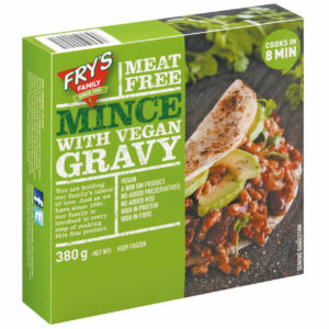 Mince made from proteins which come from grains and legumes, with a vegan gravy sachet. Mince with Vegan Gravy.