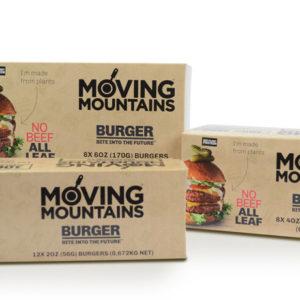 Distribuidores de comida vegana y vegetariana. Hamburguesa Vegana Moving Mountains Retail (8x113g)