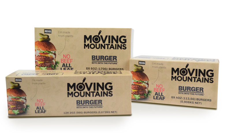 Distribuidores de comida vegana y vegetariana. Hamburguesa Vegana Moving Mountains Retail (8x170g)
