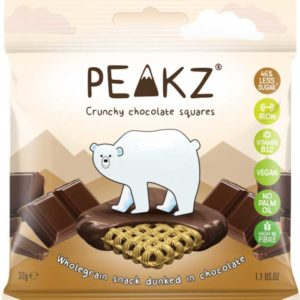 Crunchy chocolate squares are made with chocolatier quality Belgian dark chocolate with a wholegrain crunchy core.