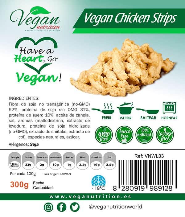 Vegan Nutrition Delicias Veganas en Tiras Estilo Pollo
