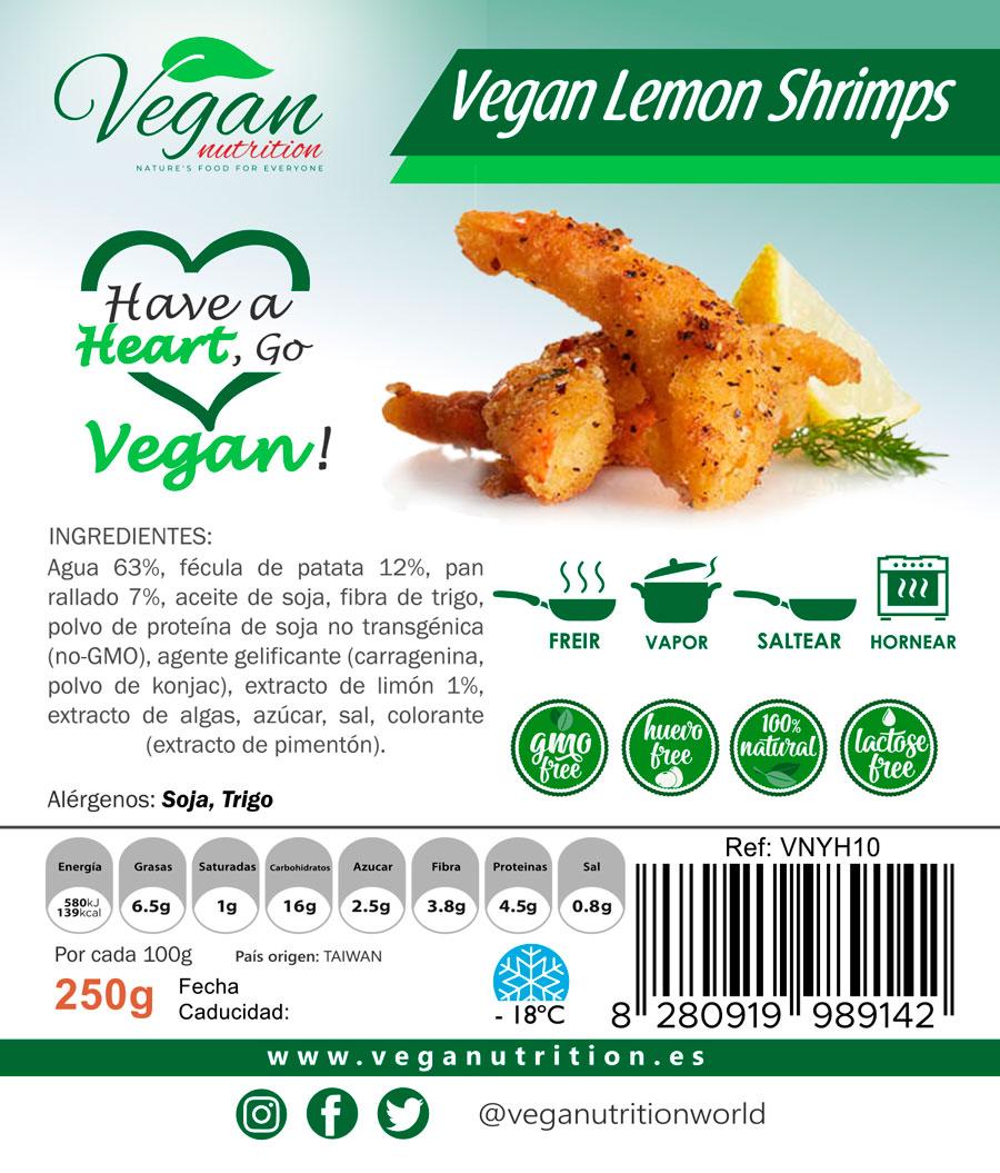 Comida vegana y Vegetariana Veganutrition. Gambas al limón Veganas